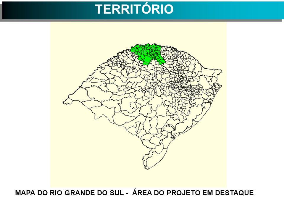 TERRITÓRIO MAPA DO RIO GRANDE DO SUL - ÁREA DO PROJETO EM DESTAQUE