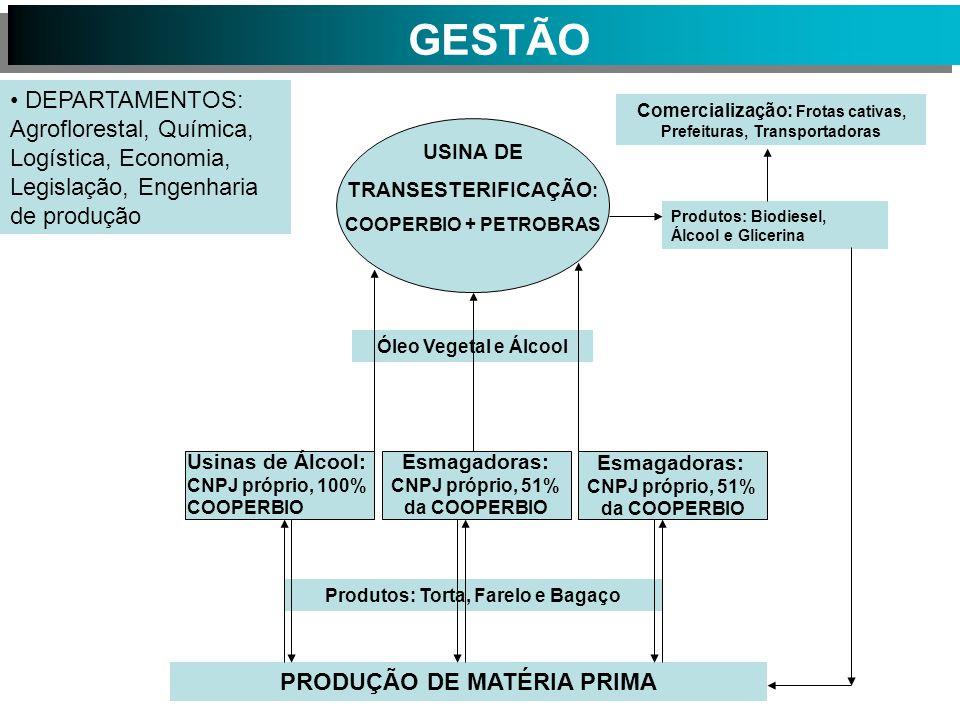 USINA DE TRANSESTERIFICAÇÃO : COOPERBIO + PETROBRAS Produtos: Biodiesel, Álcool e Glicerina Usinas de Álcool: CNPJ próprio, 100% COOPERBIO Esmagadoras: CNPJ próprio, 51% da COOPERBIO PRODUÇÃO DE MATÉRIA PRIMA Produtos: Torta, Farelo e Bagaço Óleo Vegetal e Álcool Comercialização: Frotas cativas, Prefeituras, Transportadoras Esmagadoras: CNPJ próprio, 51% da COOPERBIO DEPARTAMENTOS: Agroflorestal, Química, Logística, Economia, Legislação, Engenharia de produção GESTÃO