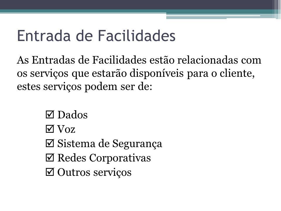 Entrada de Facilidades As Entradas de Facilidades estão relacionadas com os serviços que estarão disponíveis para o cliente, estes serviços podem ser