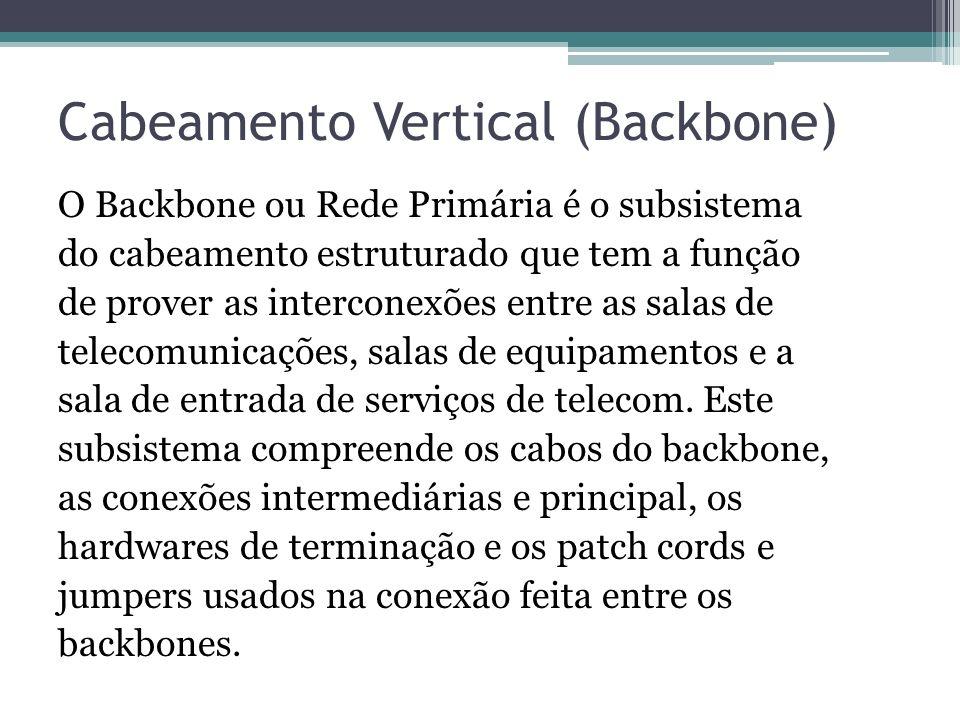 Cabeamento Vertical (Backbone) O Backbone ou Rede Primária é o subsistema do cabeamento estruturado que tem a função de prover as interconexões entre