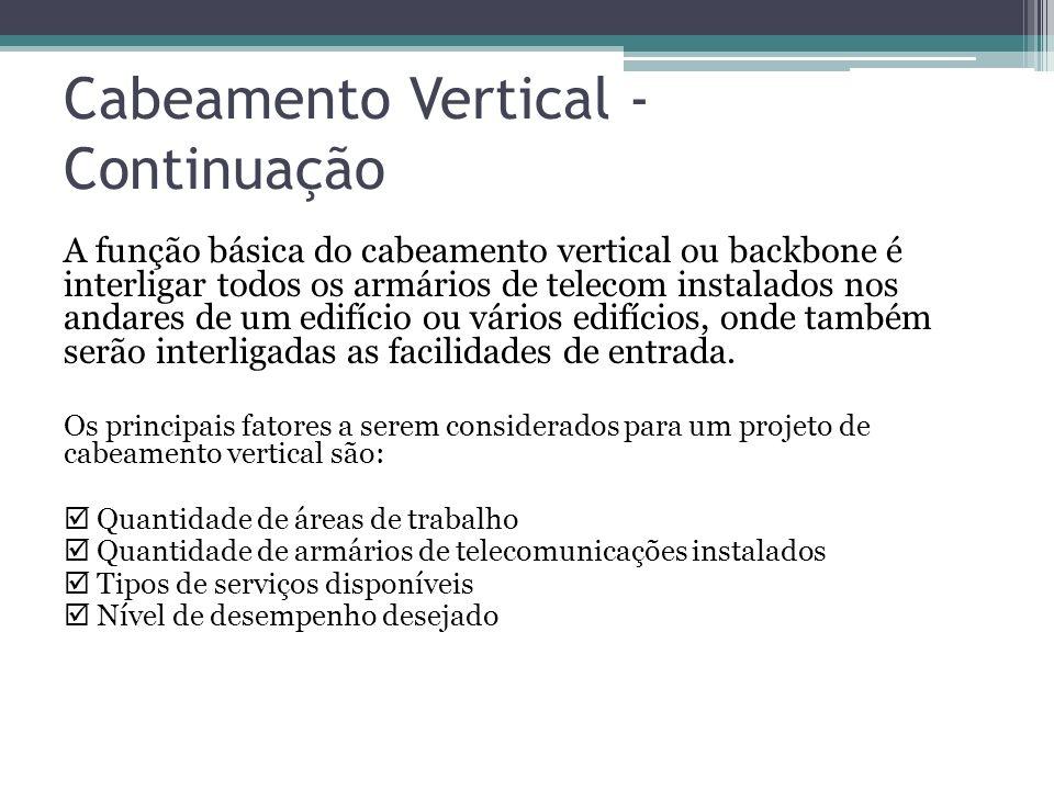 Cabeamento Vertical - Continuação A função básica do cabeamento vertical ou backbone é interligar todos os armários de telecom instalados nos andares