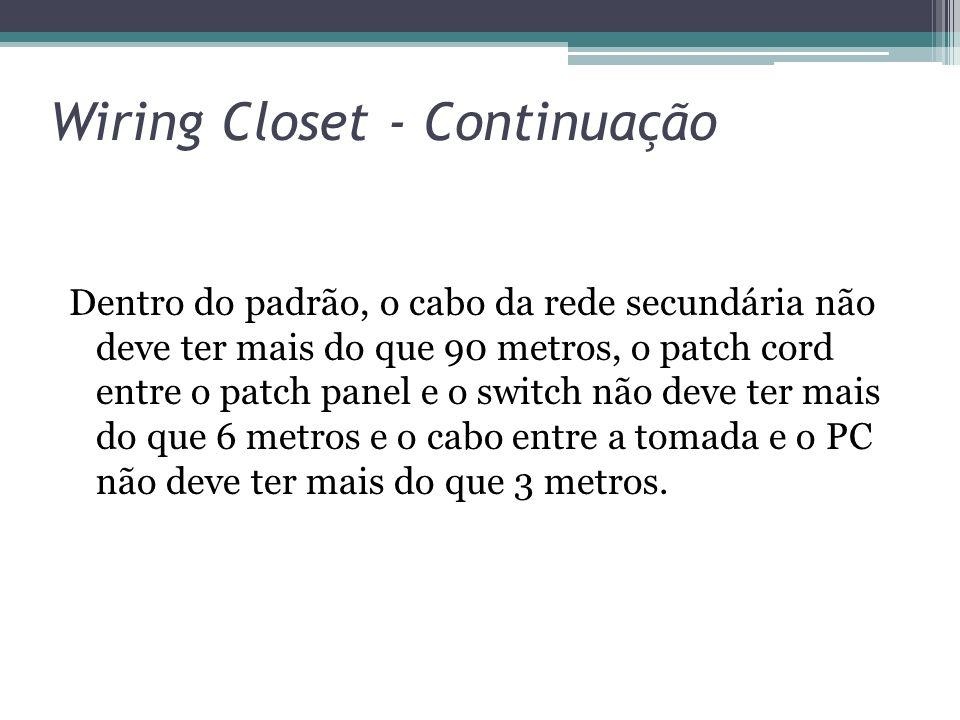 Wiring Closet - Continuação Dentro do padrão, o cabo da rede secundária não deve ter mais do que 90 metros, o patch cord entre o patch panel e o switc