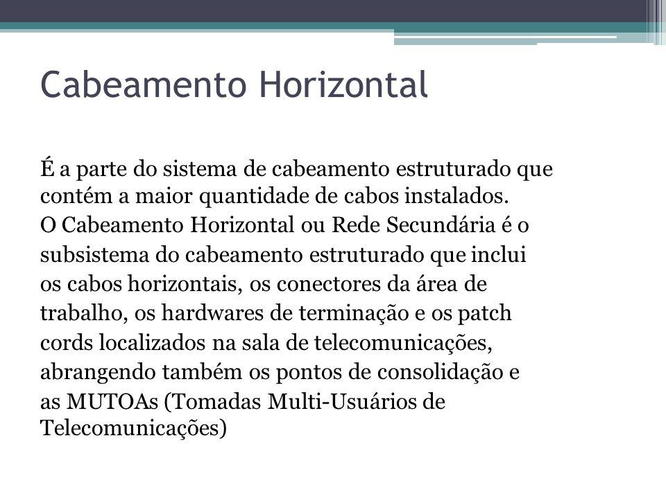 Cabeamento Horizontal É a parte do sistema de cabeamento estruturado que contém a maior quantidade de cabos instalados. O Cabeamento Horizontal ou Red