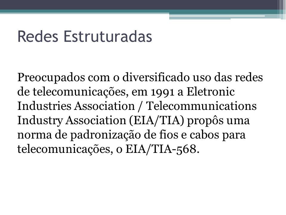 Redes Estruturadas Preocupados com o diversificado uso das redes de telecomunicações, em 1991 a Eletronic Industries Association / Telecommunications