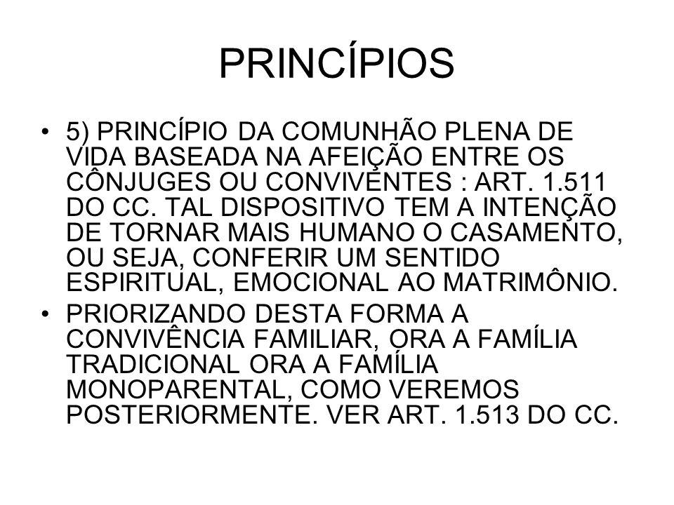 PRINCÍPIOS 5) PRINCÍPIO DA COMUNHÃO PLENA DE VIDA BASEADA NA AFEIÇÃO ENTRE OS CÔNJUGES OU CONVIVENTES : ART. 1.511 DO CC. TAL DISPOSITIVO TEM A INTENÇ