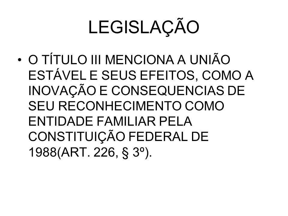 LEGISLAÇÃO O TÍTULO III MENCIONA A UNIÃO ESTÁVEL E SEUS EFEITOS, COMO A INOVAÇÃO E CONSEQUENCIAS DE SEU RECONHECIMENTO COMO ENTIDADE FAMILIAR PELA CONSTITUIÇÃO FEDERAL DE 1988(ART.