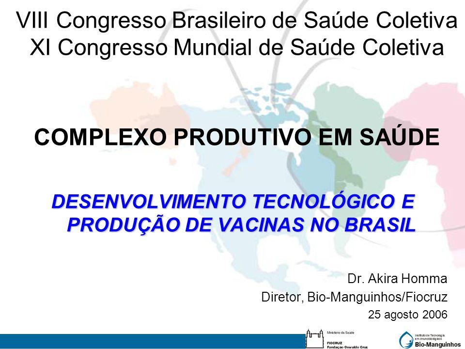 VIII Congresso Brasileiro de Saúde Coletiva XI Congresso Mundial de Saúde Coletiva COMPLEXO PRODUTIVO EM SAÚDE DESENVOLVIMENTO TECNOLÓGICO E PRODUÇÃO