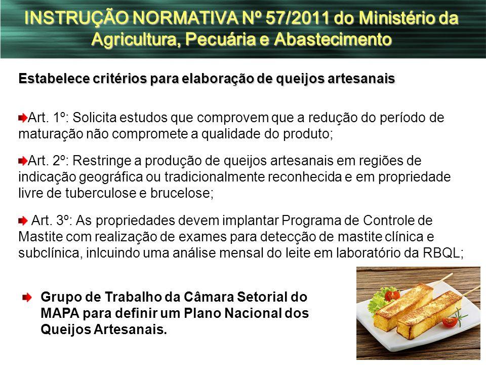 INSTRUÇÃO NORMATIVA Nº 57/2011 do Ministério da Agricultura, Pecuária e Abastecimento Estabelece critérios para elaboração de queijos artesanais Art.