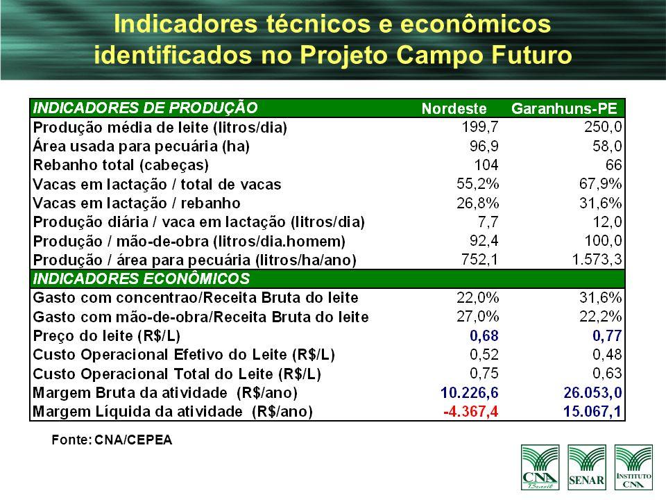 Indicadores técnicos e econômicos identificados no Projeto Campo Futuro Fonte: CNA/CEPEA