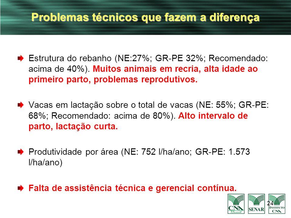 Problemas técnicos que fazem a diferença Estrutura do rebanho (NE:27%; GR-PE 32%; Recomendado: acima de 40%). Muitos animais em recria, alta idade ao