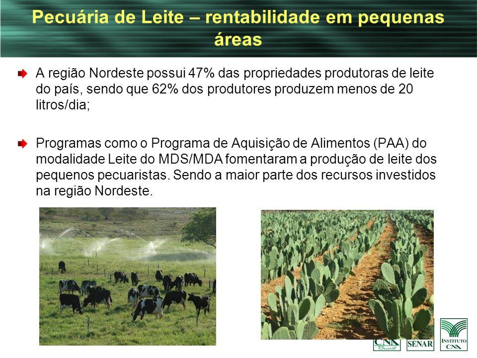 Pecuária de Leite – rentabilidade em pequenas áreas A região Nordeste possui 47% das propriedades produtoras de leite do país, sendo que 62% dos produ
