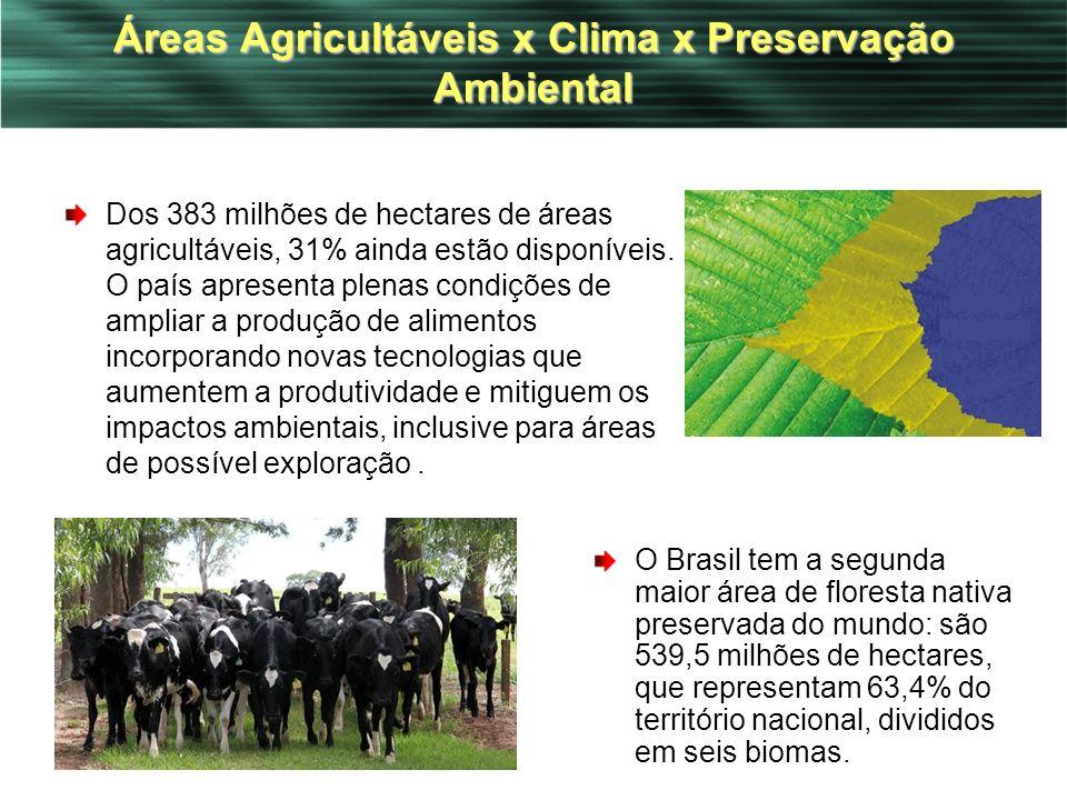 39 Áreas Agricultáveis x Clima x Preservação Ambiental Dos 383 milhões de hectares de áreas agricultáveis, 31% ainda estão disponíveis. O país apresen