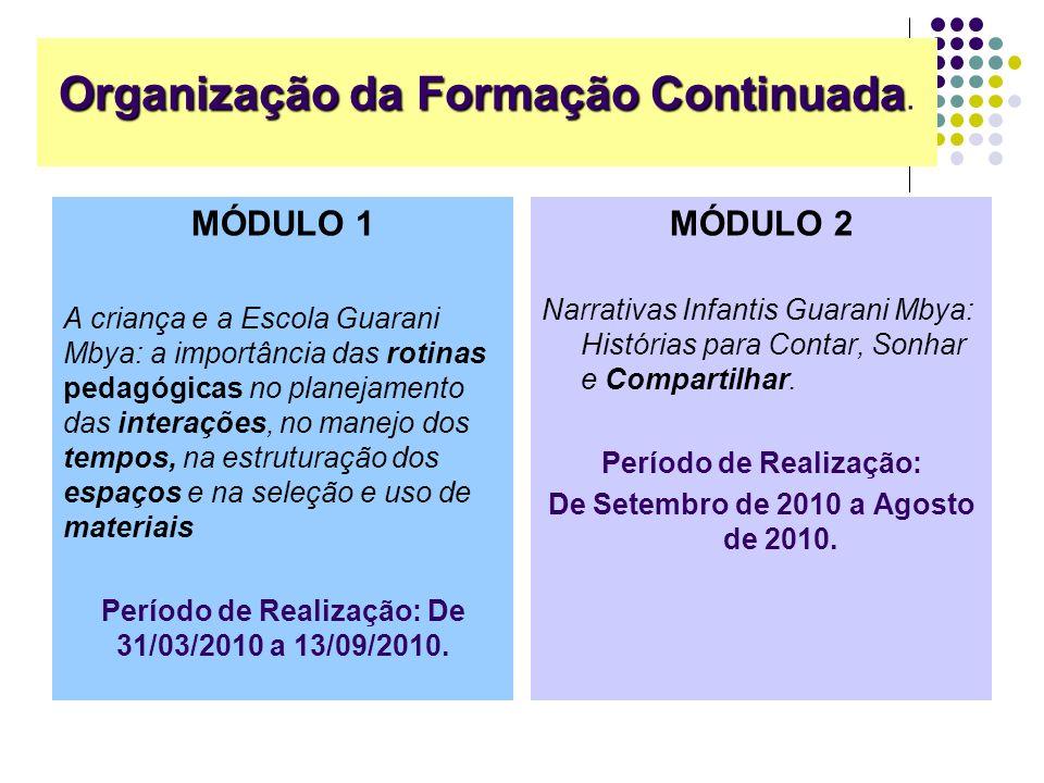 Organização da Formação Continuada Organização da Formação Continuada. MÓDULO 2 Narrativas Infantis Guarani Mbya: Histórias para Contar, Sonhar e Comp