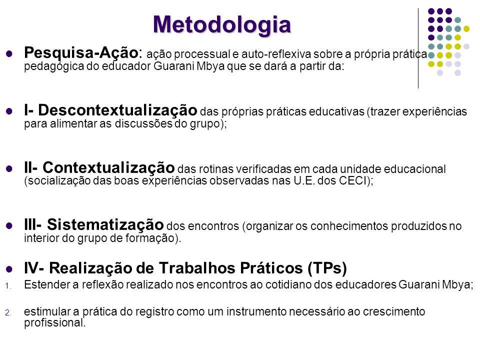 Metodologia Pesquisa-Ação: ação processual e auto-reflexiva sobre a própria prática pedagógica do educador Guarani Mbya que se dará a partir da: I- De