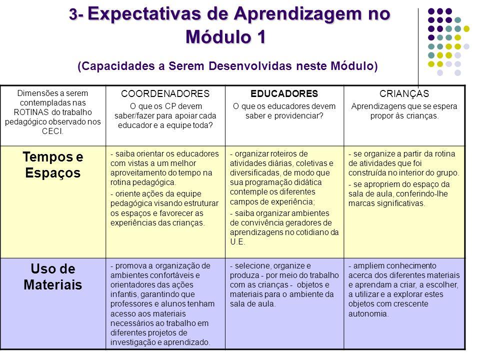 3- Expectativas de Aprendizagem no Módulo 1 3- Expectativas de Aprendizagem no Módulo 1 (Capacidades a Serem Desenvolvidas neste Módulo) Dimensões a s