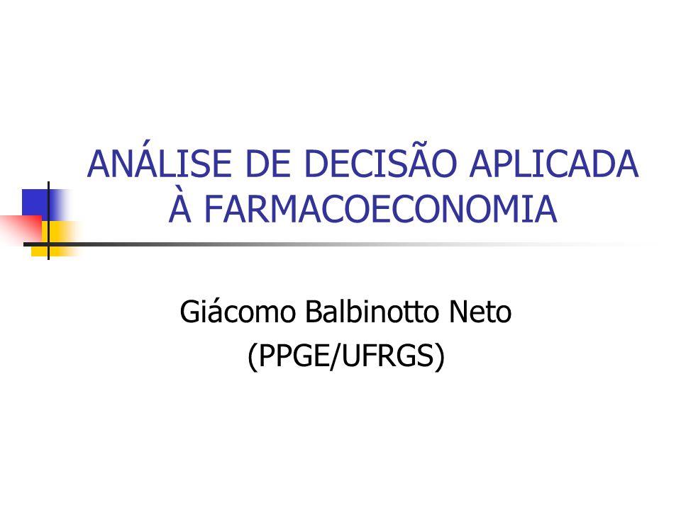 Giácomo Balbinotto Neto (PPGE/UFRGS) ANÁLISE DE DECISÃO APLICADA À FARMACOECONOMIA