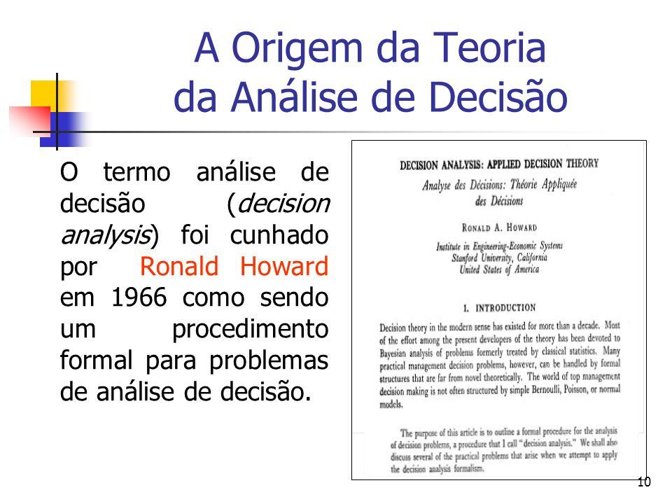 10 A Origem da Teoria da Análise de Decisão O termo análise de decisão (decision analysis) foi cunhado por Ronald Howard em 1966 como sendo um procedi
