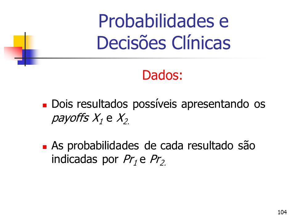 104 Probabilidades e Decisões Clínicas Dados: Dois resultados possíveis apresentando os payoffs X 1 e X 2. As probabilidades de cada resultado são ind