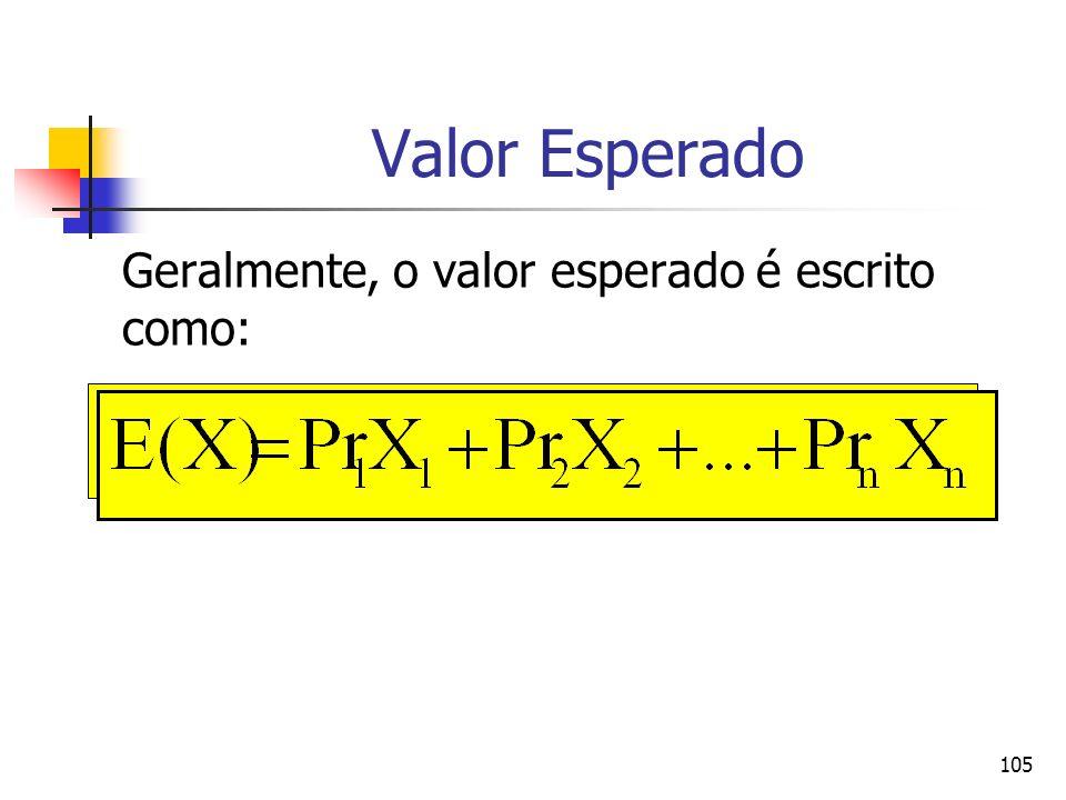 105 Valor Esperado Geralmente, o valor esperado é escrito como: