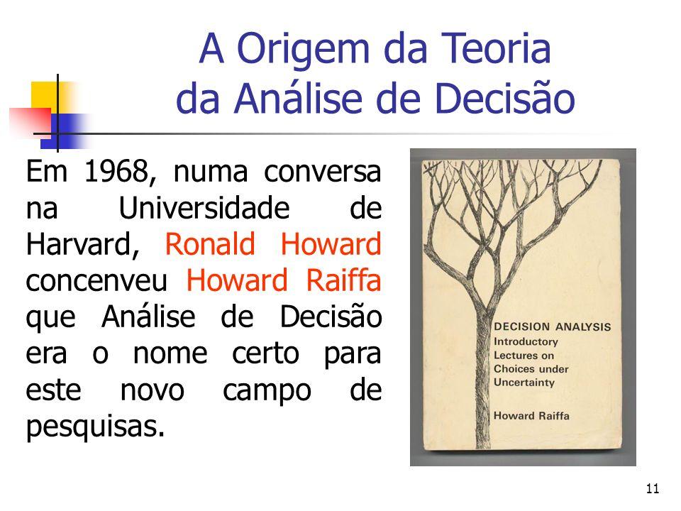 11 Em 1968, numa conversa na Universidade de Harvard, Ronald Howard concenveu Howard Raiffa que Análise de Decisão era o nome certo para este novo cam