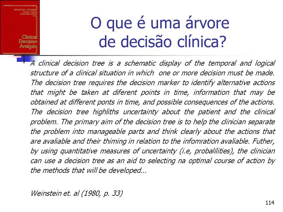 114 O que é uma árvore de decisão clínica? A clinical decision tree is a schematic display of the temporal and logical structure of a clinical situati