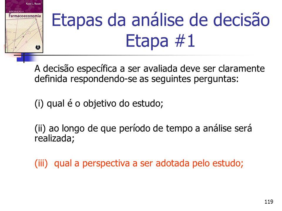 119 Etapas da análise de decisão Etapa #1 A decisão específica a ser avaliada deve ser claramente definida respondendo-se as seguintes perguntas: (i)