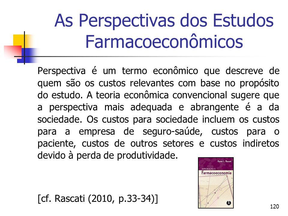 120 As Perspectivas dos Estudos Farmacoeconômicos Perspectiva é um termo econômico que descreve de quem são os custos relevantes com base no propósito
