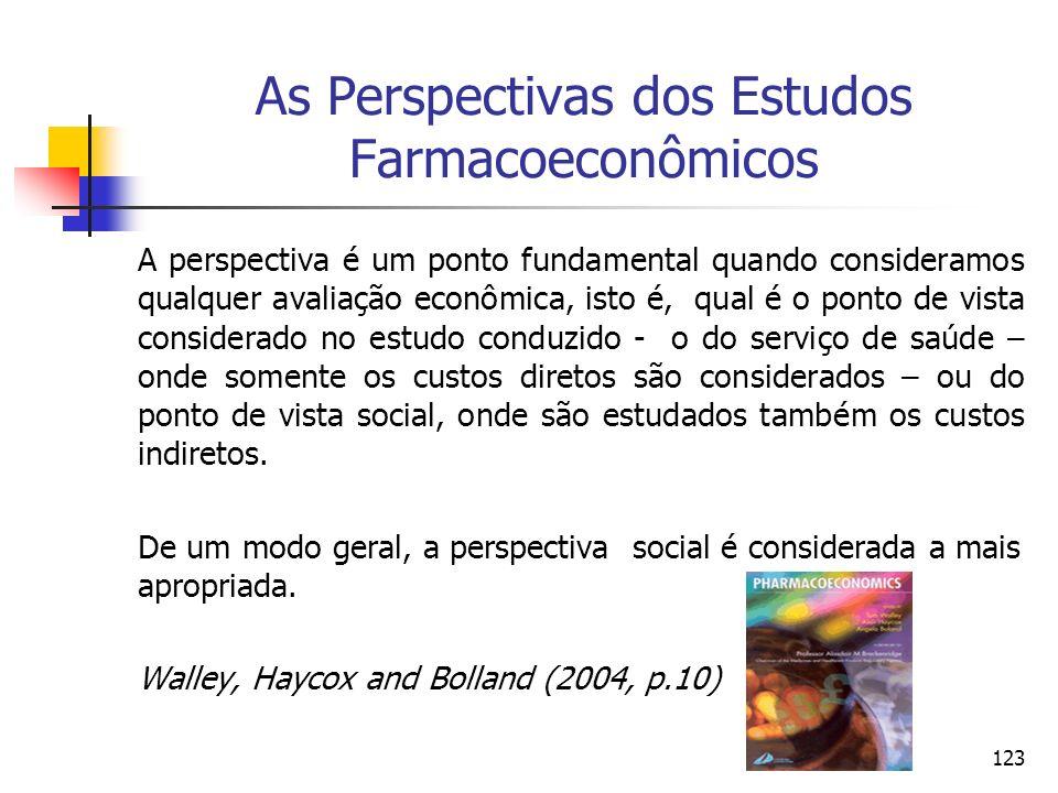 123 As Perspectivas dos Estudos Farmacoeconômicos A perspectiva é um ponto fundamental quando consideramos qualquer avaliação econômica, isto é, qual