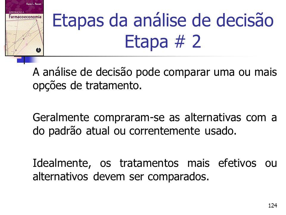 124 Etapas da análise de decisão Etapa # 2 A análise de decisão pode comparar uma ou mais opções de tratamento. Geralmente compraram-se as alternativa