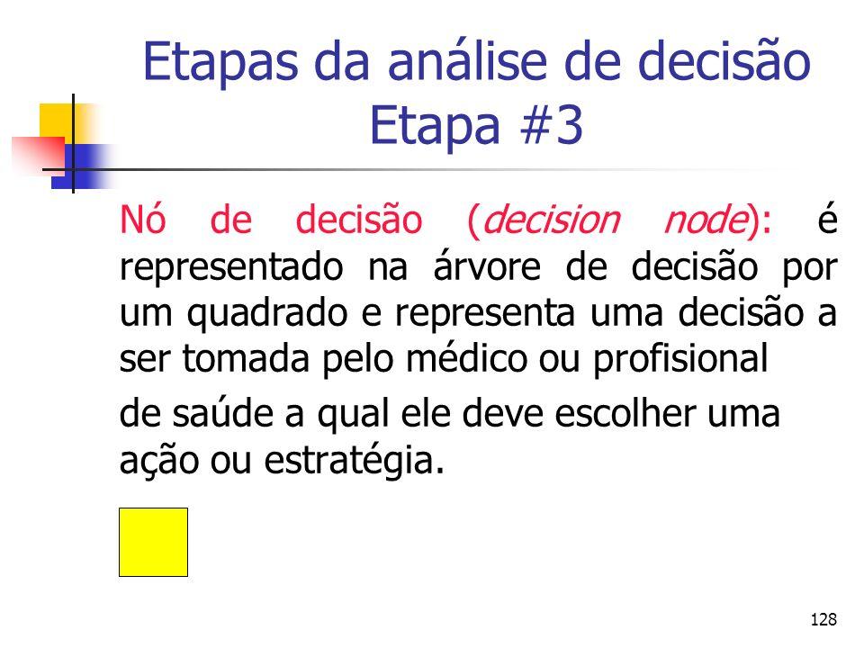 128 Etapas da análise de decisão Etapa #3 Nó de decisão (decision node): é representado na árvore de decisão por um quadrado e representa uma decisão