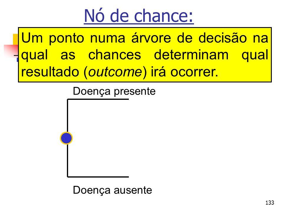 133 Nó de chance: Um ponto numa árvore de decisão na qual as chances determinam qual resultado (outcome) irá ocorrer. Doença presente Doença ausente