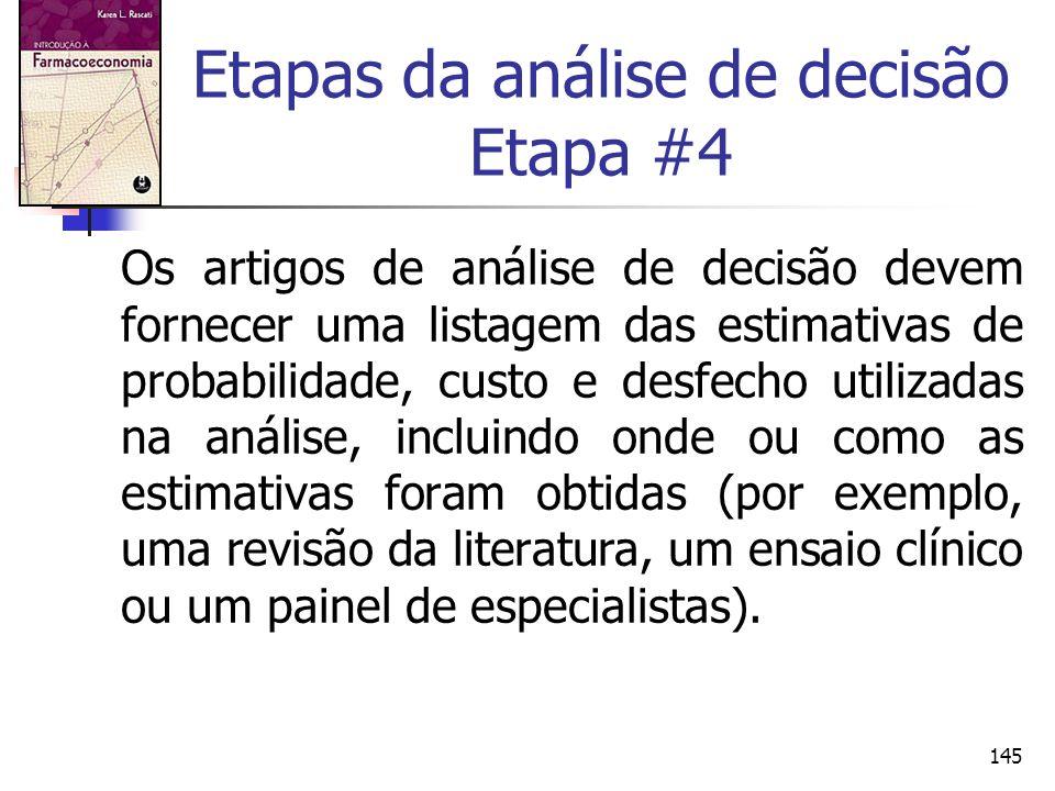 145 Etapas da análise de decisão Etapa #4 Os artigos de análise de decisão devem fornecer uma listagem das estimativas de probabilidade, custo e desfe