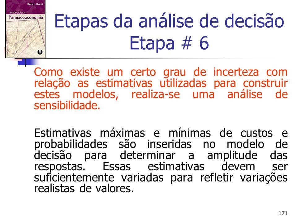 171 Etapas da análise de decisão Etapa # 6 Como existe um certo grau de incerteza com relação as estimativas utilizadas para construir estes modelos,
