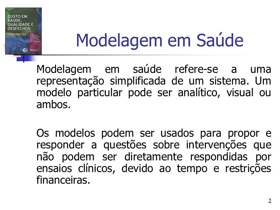 2 Modelagem em Saúde Modelagem em saúde refere-se a uma representação simplificada de um sistema. Um modelo particular pode ser analítico, visual ou a