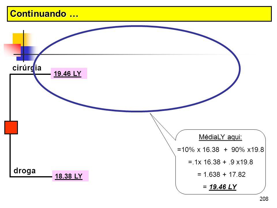 208 cirúrgia droga 18.38 LY MédiaLY aqui: =10% x 16.38 + 90% x19.8 =.1x 16.38 +.9 x19.8 = 1.638 + 17.82 = 19.46 LY 19.46 LY Continuando …