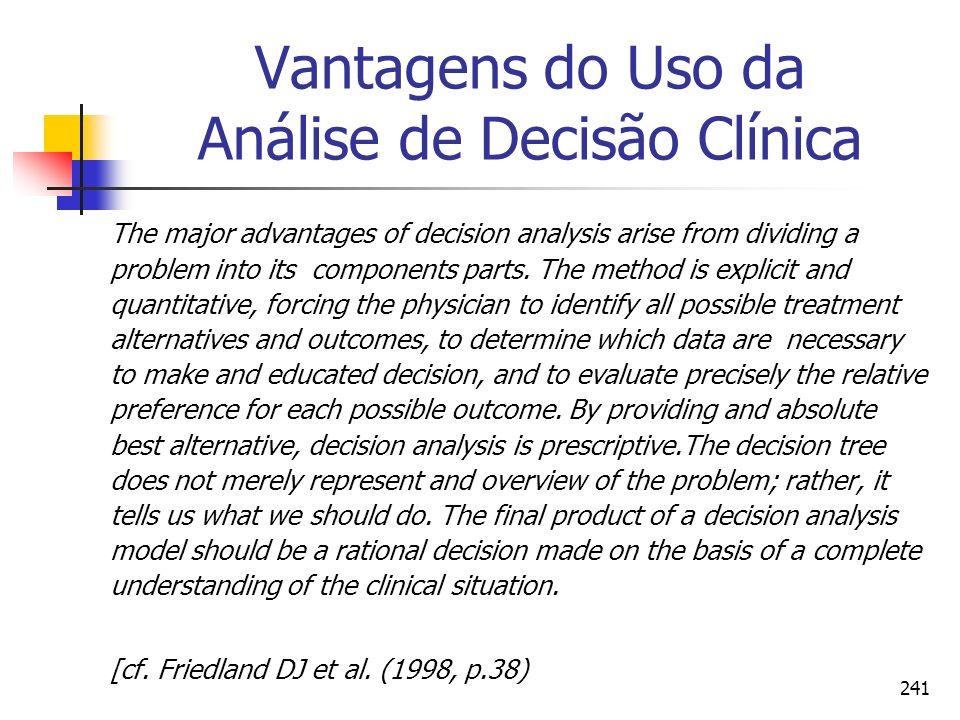241 Vantagens do Uso da Análise de Decisão Clínica The major advantages of decision analysis arise from dividing a problem into its components parts.