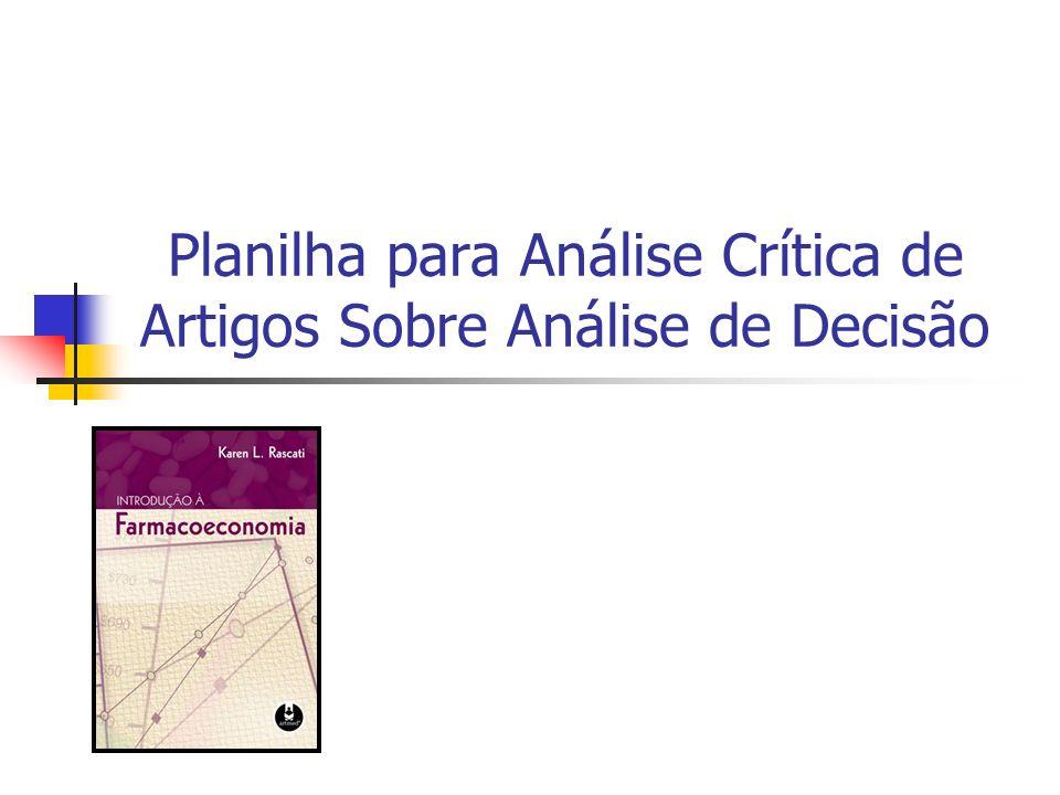 Planilha para Análise Crítica de Artigos Sobre Análise de Decisão