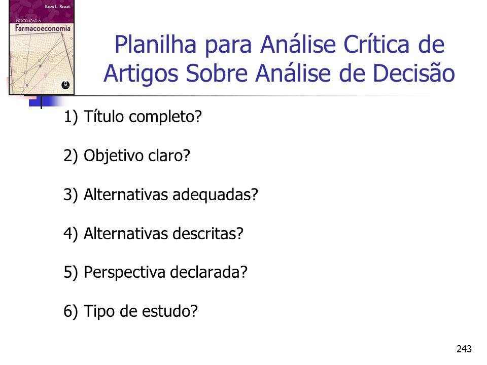 243 Planilha para Análise Crítica de Artigos Sobre Análise de Decisão 1) Título completo? 2) Objetivo claro? 3) Alternativas adequadas? 4) Alternativa