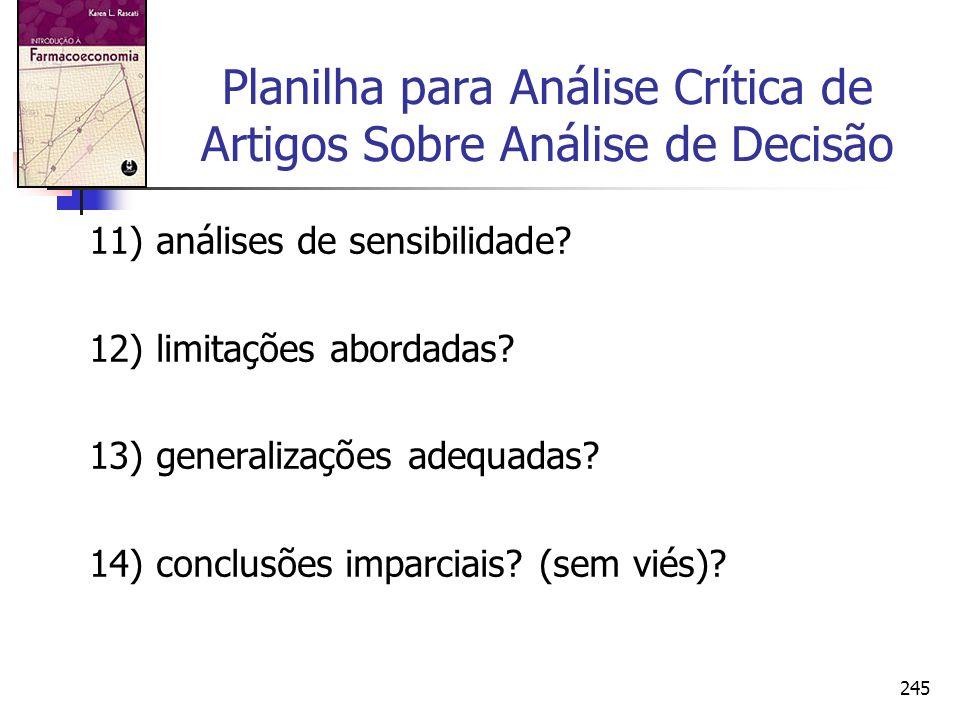 245 Planilha para Análise Crítica de Artigos Sobre Análise de Decisão 11) análises de sensibilidade? 12) limitações abordadas? 13) generalizações adeq