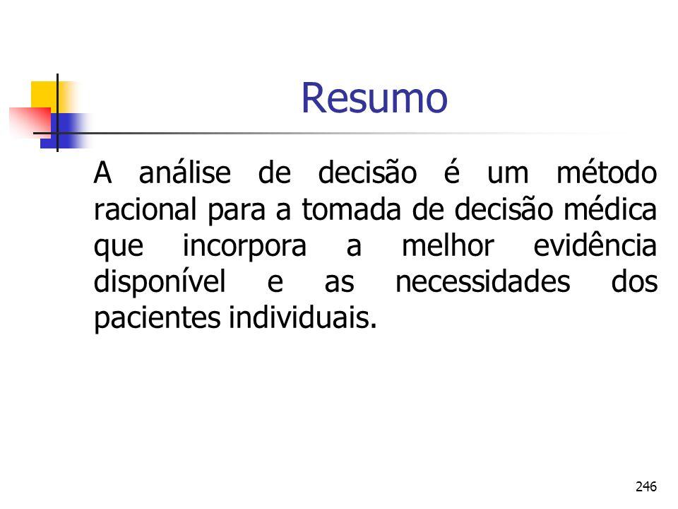 246 Resumo A análise de decisão é um método racional para a tomada de decisão médica que incorpora a melhor evidência disponível e as necessidades dos