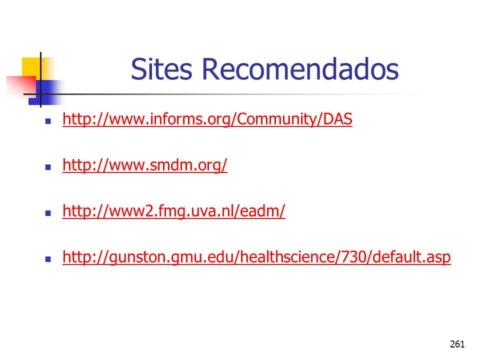 261 Sites Recomendados http://www.informs.org/Community/DAS http://www.smdm.org/ http://www2.fmg.uva.nl/eadm/ http://gunston.gmu.edu/healthscience/730