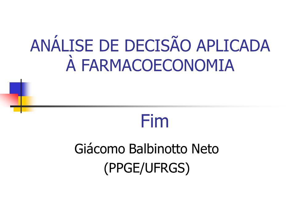 Fim Giácomo Balbinotto Neto (PPGE/UFRGS) ANÁLISE DE DECISÃO APLICADA À FARMACOECONOMIA