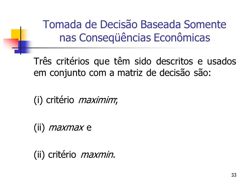 33 Tomada de Decisão Baseada Somente nas Conseqüências Econômicas Três critérios que têm sido descritos e usados em conjunto com a matriz de decisão s