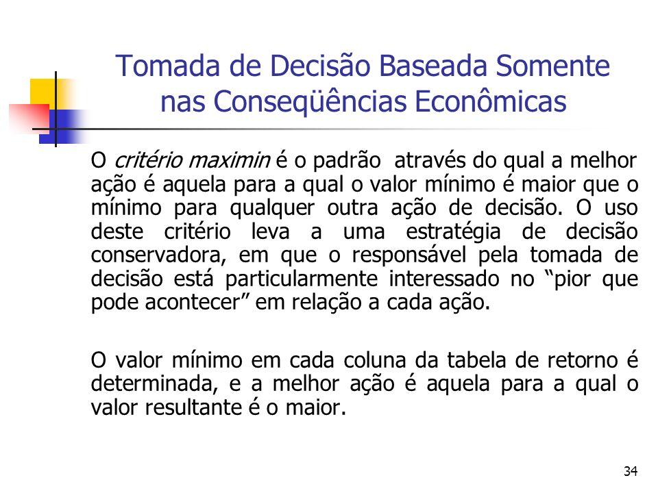 34 Tomada de Decisão Baseada Somente nas Conseqüências Econômicas O critério maximin é o padrão através do qual a melhor ação é aquela para a qual o v