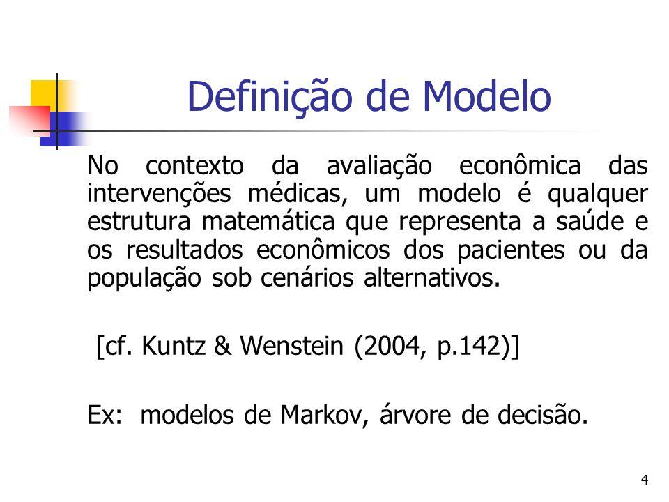 4 Definição de Modelo No contexto da avaliação econômica das intervenções médicas, um modelo é qualquer estrutura matemática que representa a saúde e