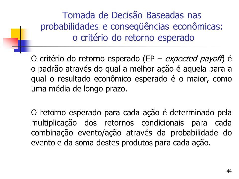 44 Tomada de Decisão Baseadas nas probabilidades e conseqüências econômicas: o critério do retorno esperado O critério do retorno esperado (EP – expec