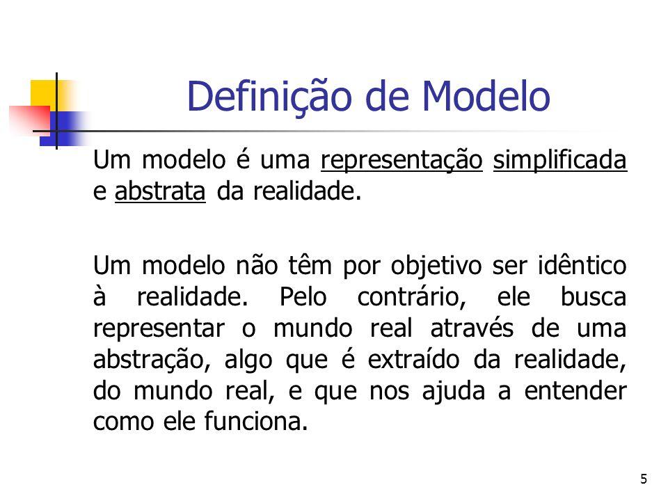 5 Definição de Modelo Um modelo é uma representação simplificada e abstrata da realidade. Um modelo não têm por objetivo ser idêntico à realidade. Pel
