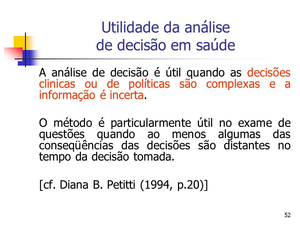 52 Utilidade da análise de decisão em saúde A análise de decisão é útil quando as decisões clinicas ou de políticas são complexas e a informação é inc