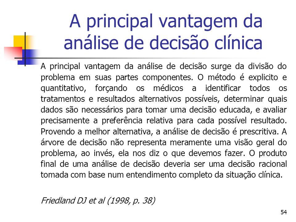 54 A principal vantagem da análise de decisão clínica A principal vantagem da análise de decisão surge da divisão do problema em suas partes component