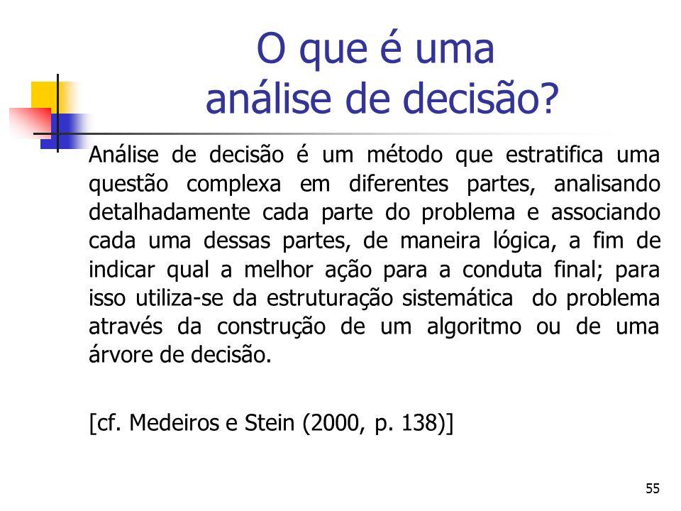 55 O que é uma análise de decisão? Análise de decisão é um método que estratifica uma questão complexa em diferentes partes, analisando detalhadamente